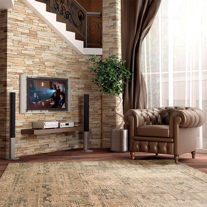 Awesome in deze moderne woonkamer de lichte kalkstenen for Buitenmuur decoratie