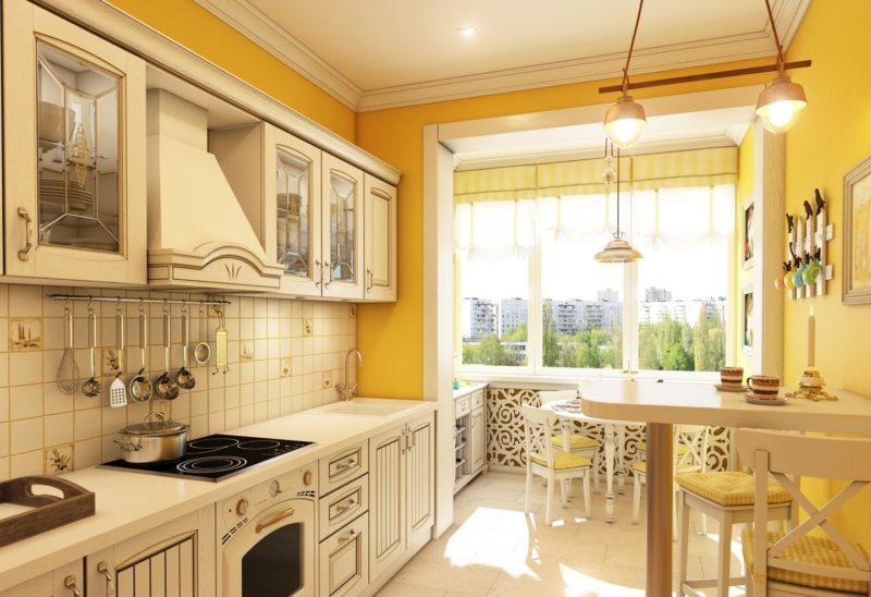 Оранжевая кухня в стиле прованс