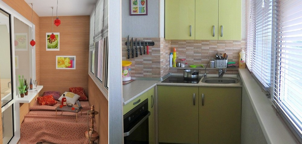 Планування кухні з лоджією. квадратних метрів і балкон. став.